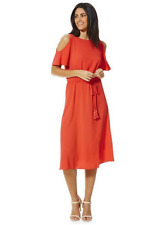 Size 6 F&F Cold shoulder Grecian Wrap-round Red Dress UK