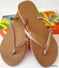 HAVAIANAS BNWT LADIES THONGS FLIP FLOPS Sandals Metallic Rose Gold Slim Logo