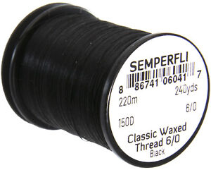 Semperfli Classic Waxed Thread for fly tying - Range of colours in 6/0 and 8/0