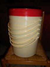 Lot 5 seaux plastique alimentaire 10l / 15 kg avec couvercle