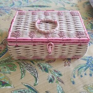 Vintage Mid Century Modern Dritz Sewing Basket Made Japan Pink Woven Sectioned