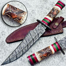 "Authentic HAND FORGED DAMASCUS BOWIE 15"" HUNTING KNIFE ENGRAVING BONE - UT-4137"