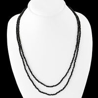 Beauitful 80.00 Cts Natural Rich Black Spinel 2 Line Faceted  Beads Necklace