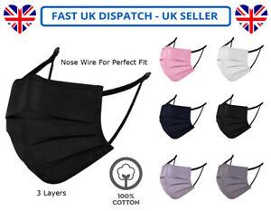 Adults Unisex Cotton Black Face Mask Mouth Protection Washable Reusable