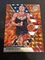 2019-20 Panini Mosaic Stephen Curry Team USA Basketball Orange Reactive Prizm SP