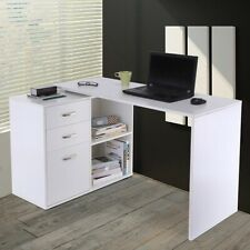 Homcom Computer Desk L Home White Table Pack Box Metal Piece Cabinet Office
