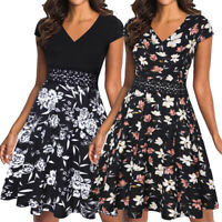 Womens V-Neck Lace Embroidery Floral Flared Swing A-Line Casual Party Work Dress