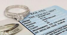 0.89 ct 14k White Gold Round Cut Diamond Engagement Ring Set EGL-USA Rtl $4,465