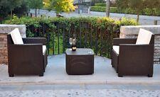 Mobili da giardino Salotto in POLY RATTAN da esterno poltrone + tavolino