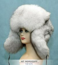 BIG White Chapka Ushanka SAGA BLUE FOX Fur Russian Hat Pelzmütze Fellmütze Fuchs