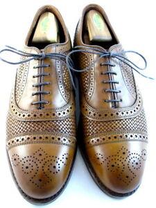 "NEW Allen Edmonds ""Strand"" Leather Weave Cap-Toe Oxfords 9 EEE Walnut USA (589)"