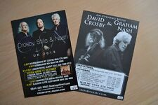 Crosby Stills & Nash UK Tour 2013 & Crosby & Nash UK Tour 2011 A5 Flyers (Mint!)