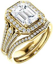 1.00 carat Emerald Cut Diamond Halo Engagement Wedding Ring 14k Yellow Gold