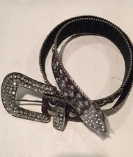 """Purple Leather Crystal Belt Medium  (31"""" -36"""")"""