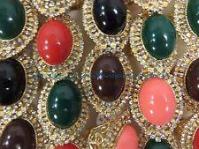 US SELLER - 12 rings faux gemstone crystal wholesale jewelry lot