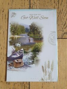Get WELL Soon Card - Fishing Boat River Fish - NEW with Envelope