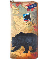 LAVISHY Checkbook Wallet CANADA GRIZZLY BLACK BEAR Vegan Leather WRISTLET BROWN