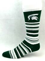 Michigan State Spartans For Bare Feet Muchas Rayas Fuzzy Crew Socks