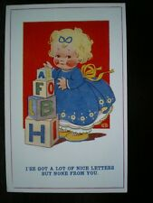 POSTCARD GIRL WITH LETTER BLOCKS  GOT A LOT OF NICE LETTERS BUT NONE FROM YOU AR