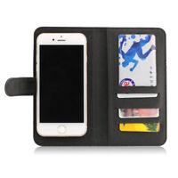 Etui  portefeuille universel en cuir noir pour  smartphone Apple iPhone 7/7Plus