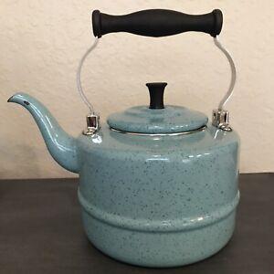 Paula Deen Signature Blue Enamelware Tea Kettle Pot Stove Top Speckled Chippy