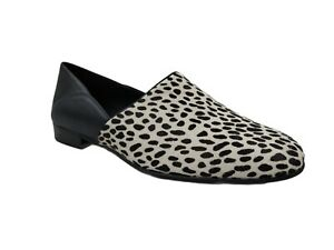 Clarks Womens Pure Tone Black Leather Animal Print Loafer Flats Size 9 M US