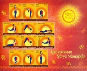 India 2016 Surya Namaskar Health Yoga Fitness Miniature sheet
