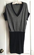 French Connection black and gray women's striped sweater dress size XS