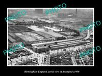 OLD LARGE HISTORIC PHOTO BIRMINGHAM ENGLAND AERIAL VIEW OF BROMFORD c1950 1