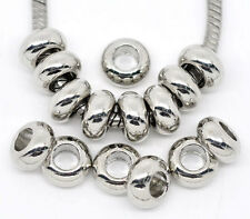 30 Silver Tone Smooth Spacer Beads Fit Charm Bracelet