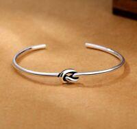 Damen Herren Armband Silber 925 Armreif Einstellbar Handgemacht Knoten Geschenk.