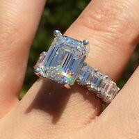925 Silver Emerald Cut White Sapphire Wedding Rings Women Girl Jewelry Size 6-10