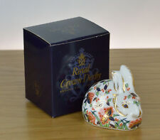Royal Crown Derby paperweight Meadow Rabbit Gold Stopper Boxed