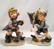 "Vintage Napco Figurines,Large 8"" Boy & Girl Rainy Days Umbrella Goose Rain Boots"
