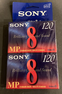 New 2 Pack Sony 8mm MP Video Cassette Tape 120 Minute Sealed P6-120MP