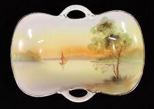 Rising Sun Nippon oblong dish open handles hp sailboat tree gold trim Japan