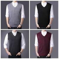 Mens Knit Vest Tank Top Sleeveless Knitwear Plain Jumper Sweater Golf Waistcoat