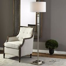 """STATELY 66"""" STACKED CRYSTAL FLOOR LAMP LINEN SHADE POLISHED NICKEL METAL LIGHT"""