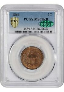 1866 2 Cent PCGS MS 65 RB CAC/PCGS Shield  FREE SHIPPING US ONLY