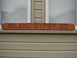 "Island Gypsy Nameplate Teak Wood Carved Engraved 42"" Long World Shipping"