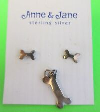 "Sterling Silver DOG BONE CHARM + EARRINGS Anne & Jane lucky dog lover 3/4"" .925"