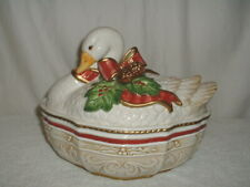 Fitz & Floyd Christmas Gathering Goose Covered Vegetable Serving Bowl Oval