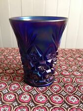 Rare Imperial Colbalt Blue CARNIVAL GLASS TUMBLER Signed Holmes Antique Festival