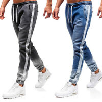 Men's Casual Pants Slim Fit Jeans Personality Drawstring Stretch Waist Trousers