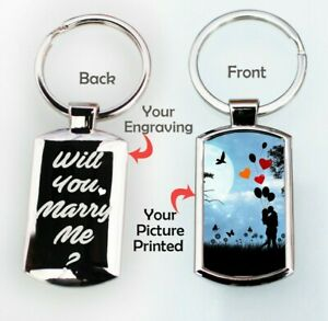Personalised Valentines Day Keepsakes Gift Photo Printed Engraved keyring keytag