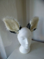 Cosplay fox ears on headband, Kat Croker, handmade, black and white