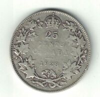 CANADA 1928 TWENTY FIVE CENTS QUARTER KING GEORGE V .800 SILVER COIN