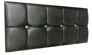 Faux Leather Headboard,  Bed Head / Various Colours / Buttons or Crystals