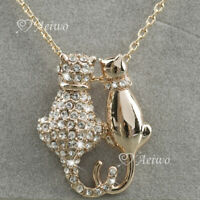 18K ROSE GOLD GF MADE WITH SWAROVSKI CRYSTAL CAT LOVER COUPLE PENDANT NECKLACE