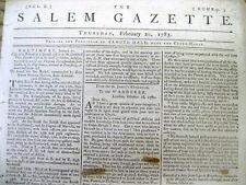 1783 Salem MA newspaper with 1st news of PEACE TREATY ending  REVOLUTIONARY WAR